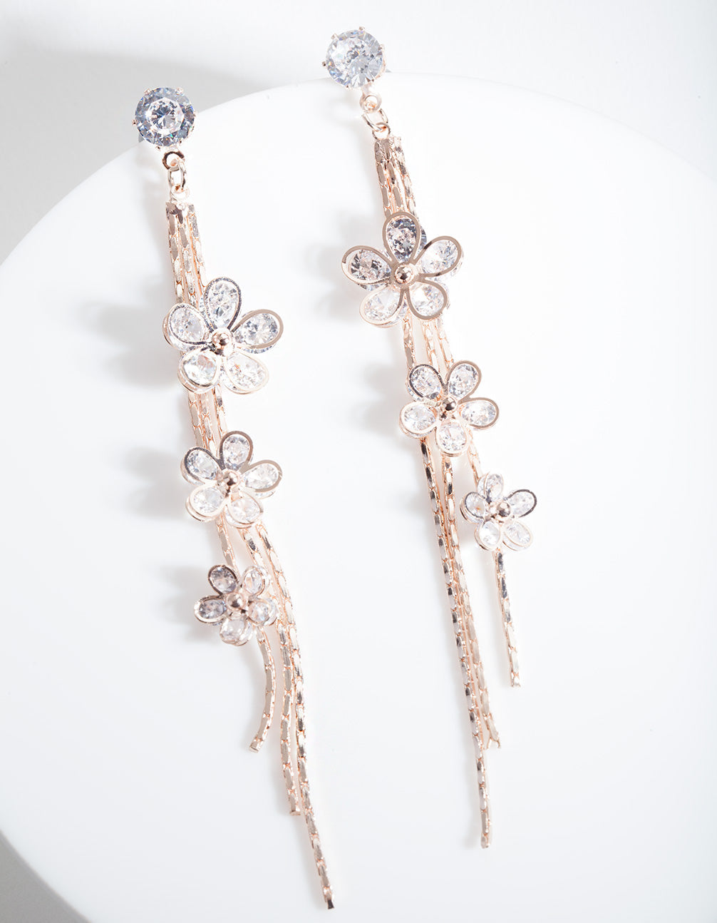 Rose Gold Cubic Zirconia Cluster Earring