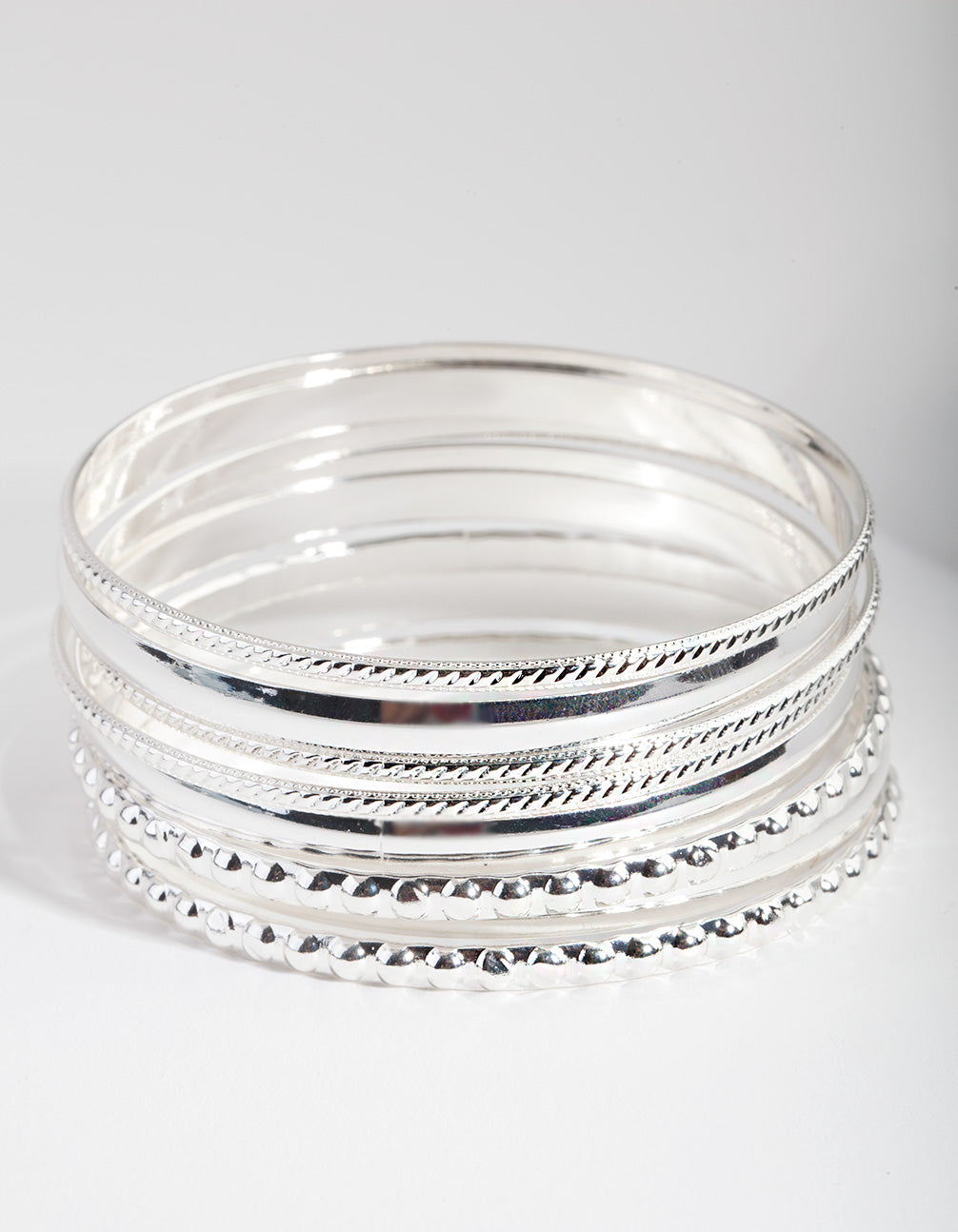 Silver Textured Bangle 8 Pack