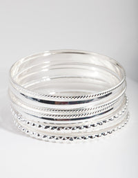 Silver Textured Bangle 8 Pack - link has visual effect only
