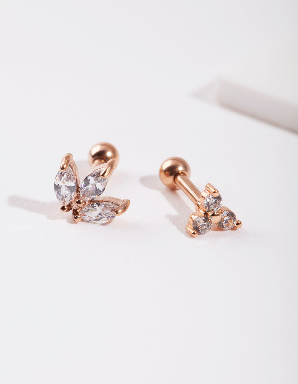 Rose Gold Diamante Cluster Earring Pack