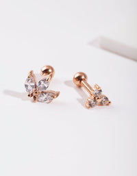 Rose Gold Diamante Cluster Earring Pack - link has visual effect only