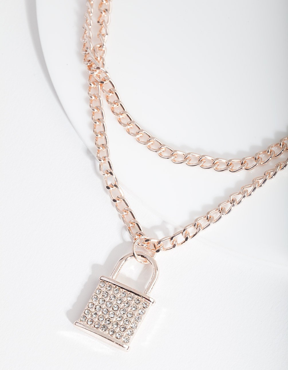 Rose Gold Diamante Padlock Necklace