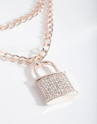 Rose Gold Diamante Padlock Necklace - link has visual effect only
