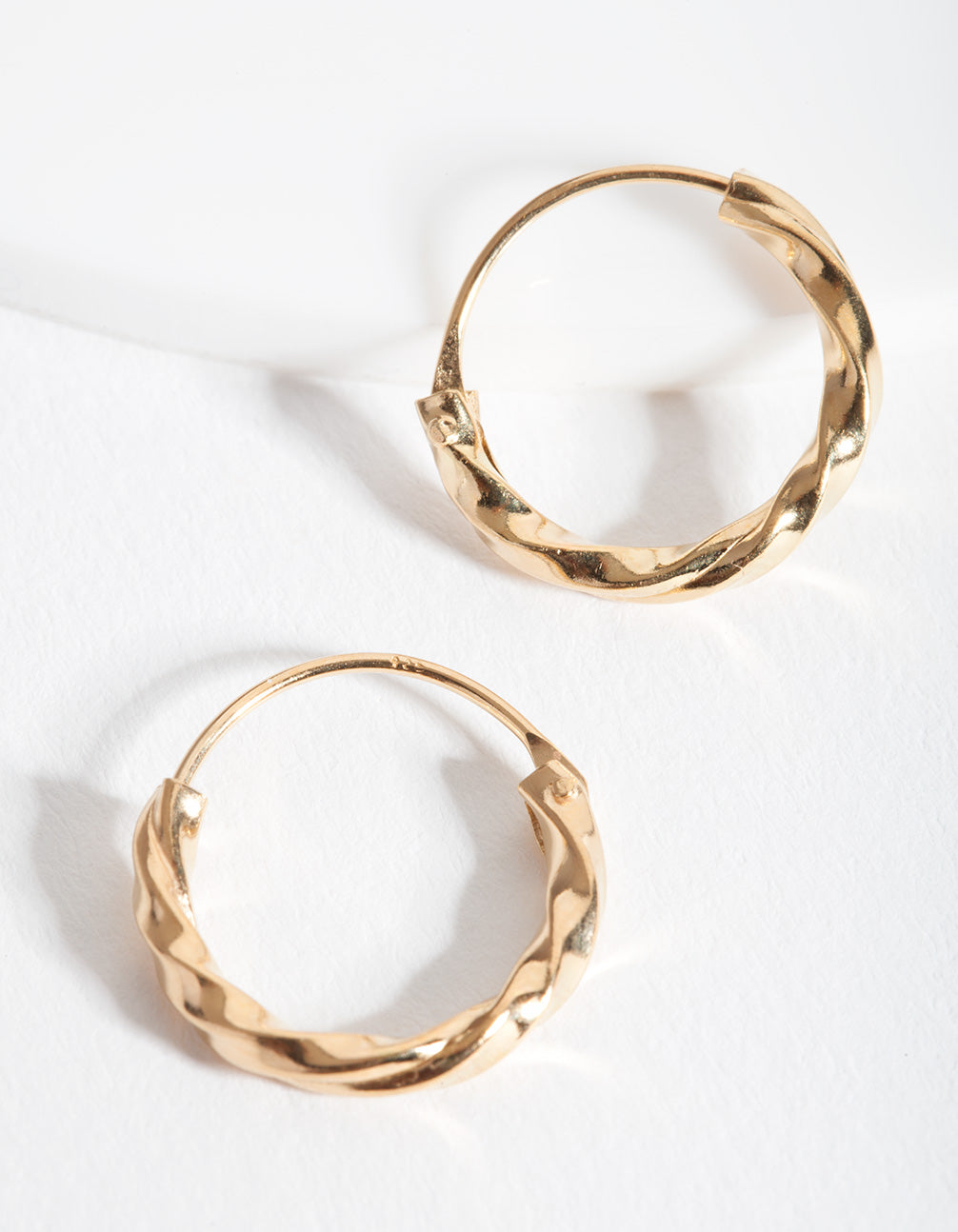 Gold Plated Sterling Silver Chunky Twist Hoop Earring