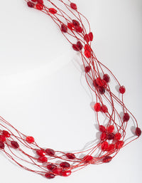 Red Multi-Row Bead Necklace - link has visual effect only