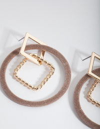 Brown Square and Circle Drop Earrings - link has visual effect only