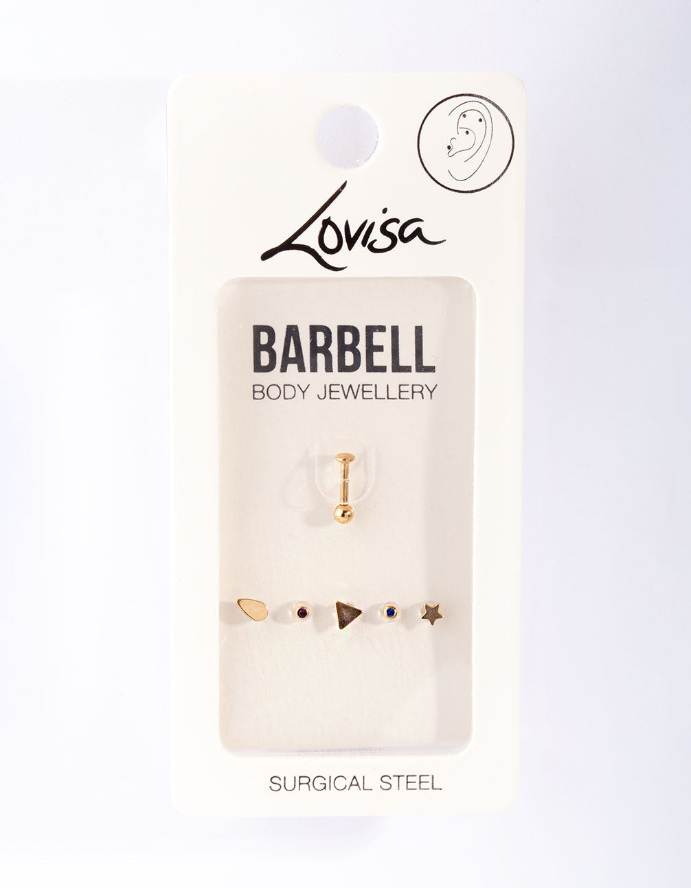 Gold Surgical Steel Mixed Barbell Earring