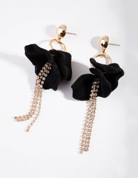Gold Flocked Petal Drop Earring - link has visual effect only