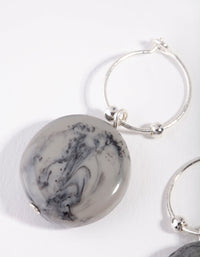 Silver Marble Bead Hoop Earring - link has visual effect only