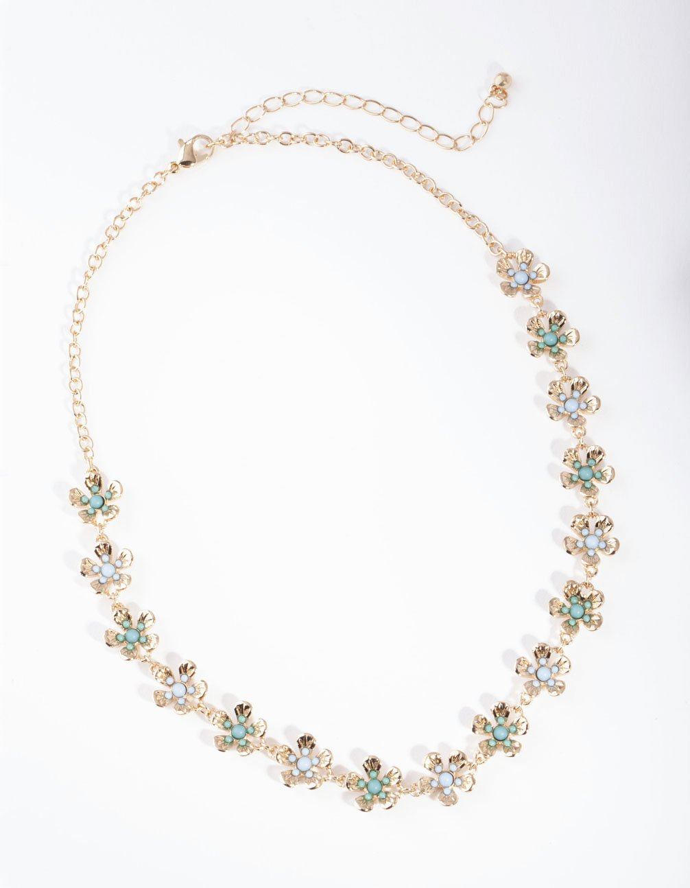 Gold Beaded Blue Flower Necklace