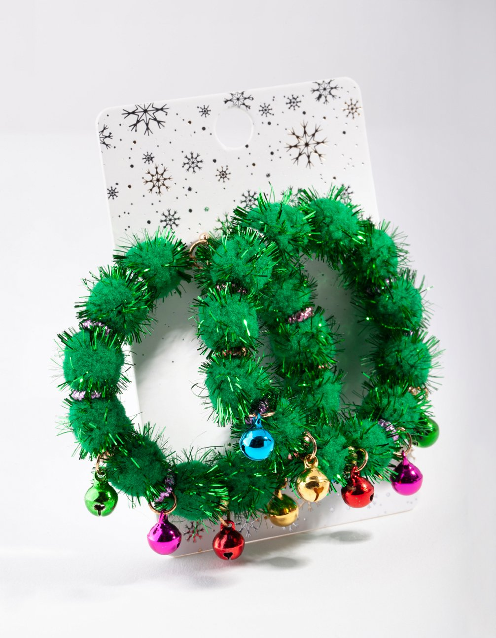 Green Tinsel Bell Wreath Drop Earring