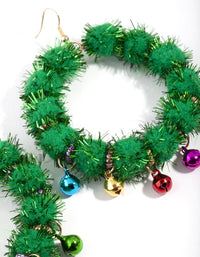 Green Tinsel Bell Wreath Drop Earring - link has visual effect only