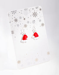 Silver Santa Hat Drop Earring - link has visual effect only