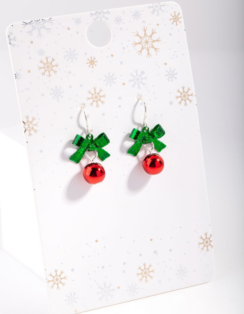 Red and Green Bow and Bell Drop Earring