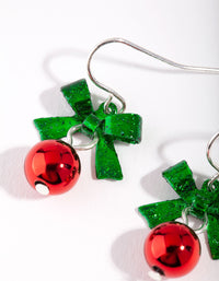 Red and Green Bow and Bell Drop Earring - link has visual effect only