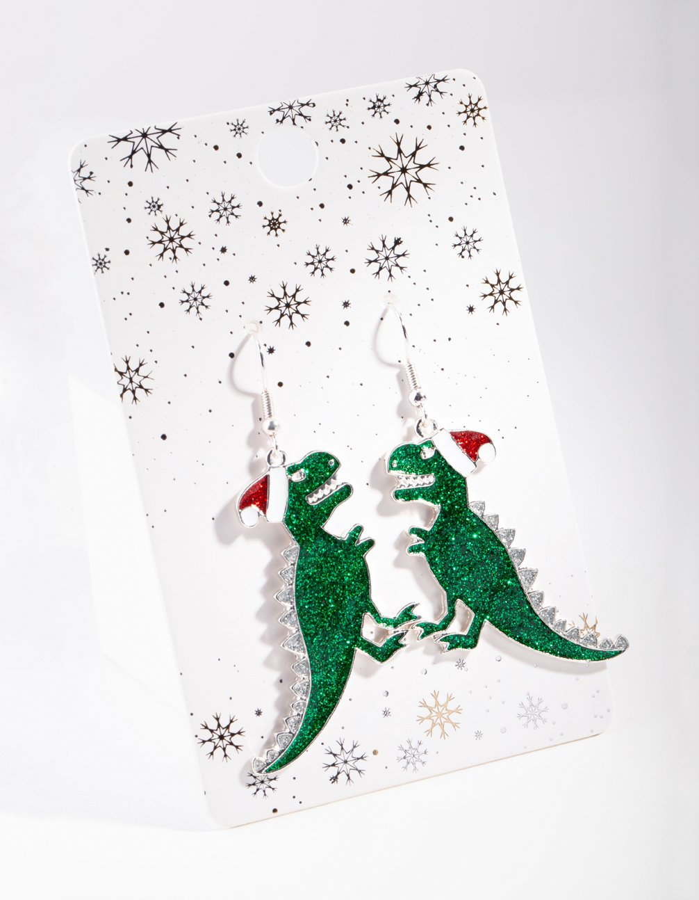 Green Glitter Dinosaur Drop Earring