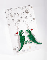 Green Glitter Dinosaur Drop Earring - link has visual effect only