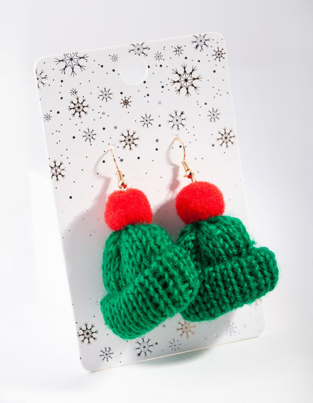 Green Knitted Beanie Drop Earring
