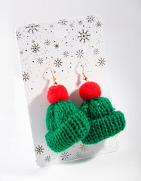 Green Knitted Beanie Drop Earring - link has visual effect only