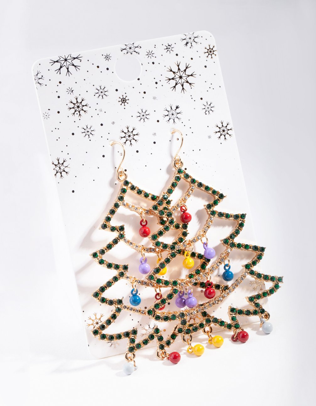 Gold Multi Decorated Christmas Tree Earring