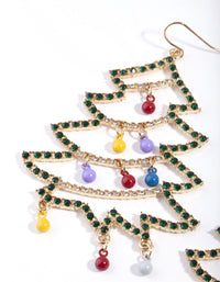 Gold Multi Decorated Christmas Tree Earring - link has visual effect only