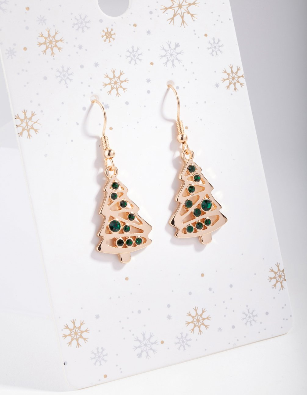Gold Green Crystal Tree Drop Earring