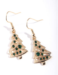 Gold Green Crystal Tree Drop Earring - link has visual effect only