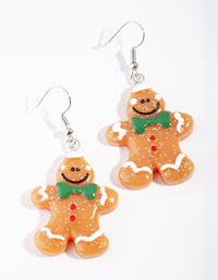 Acrylic Brown Gingerbread Man Drop Earring - link has visual effect only