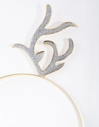 Gold Curly Reindeer Headband - link has visual effect only