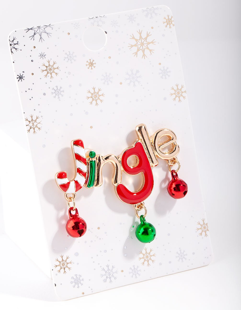 Gold Red and Green Jingle Bell Brooch