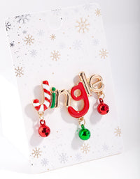 Gold Red and Green Jingle Bell Brooch - link has visual effect only