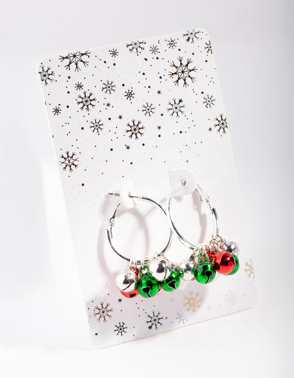 Silver Red and Green Jingle Hoop Earring