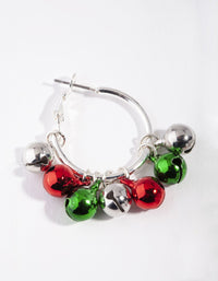 Silver Red and Green Jingle Hoop Earring - link has visual effect only