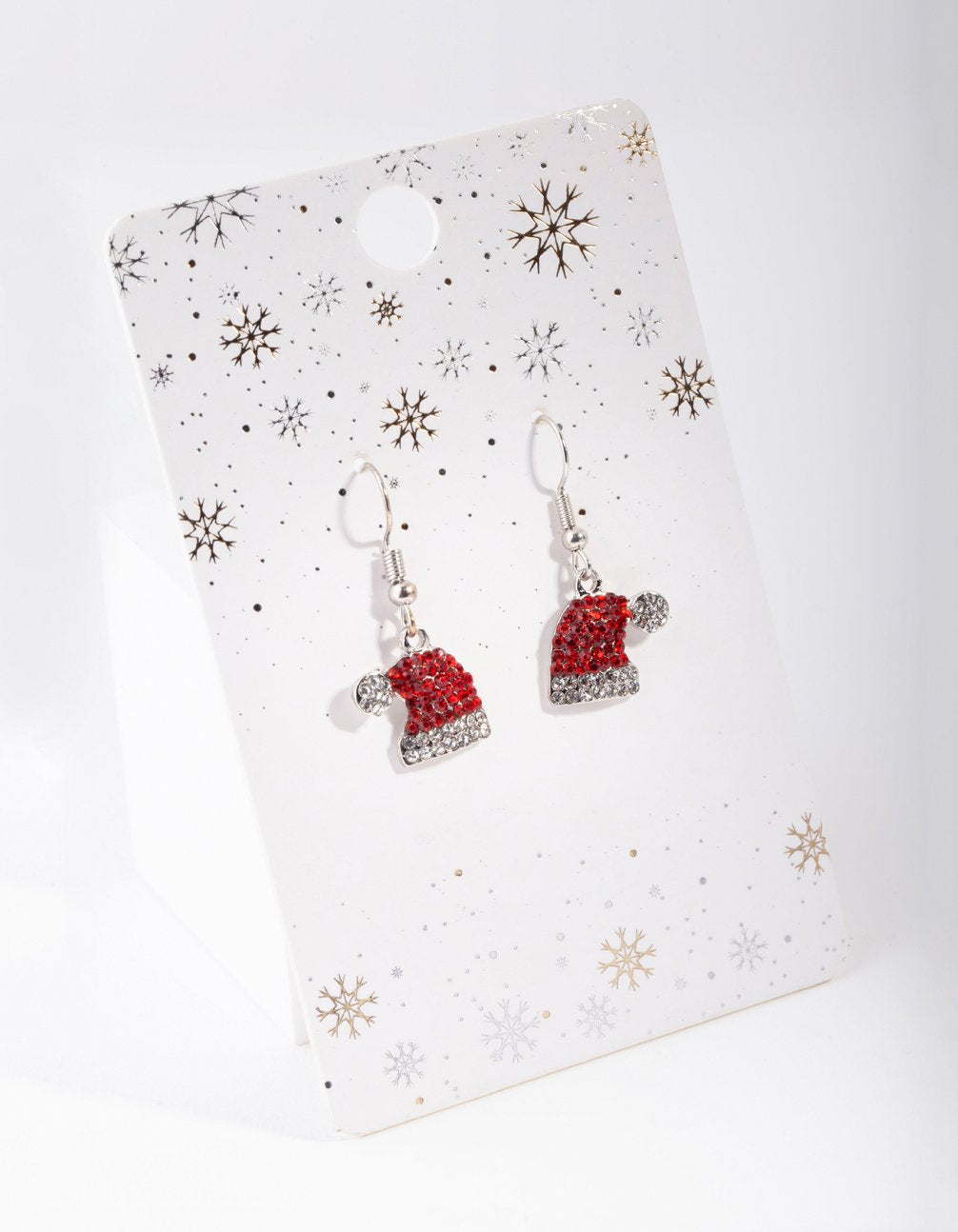 Silver Red Diamante Santa Hat Earring