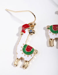 Gold Glitter Llama Earring - link has visual effect only