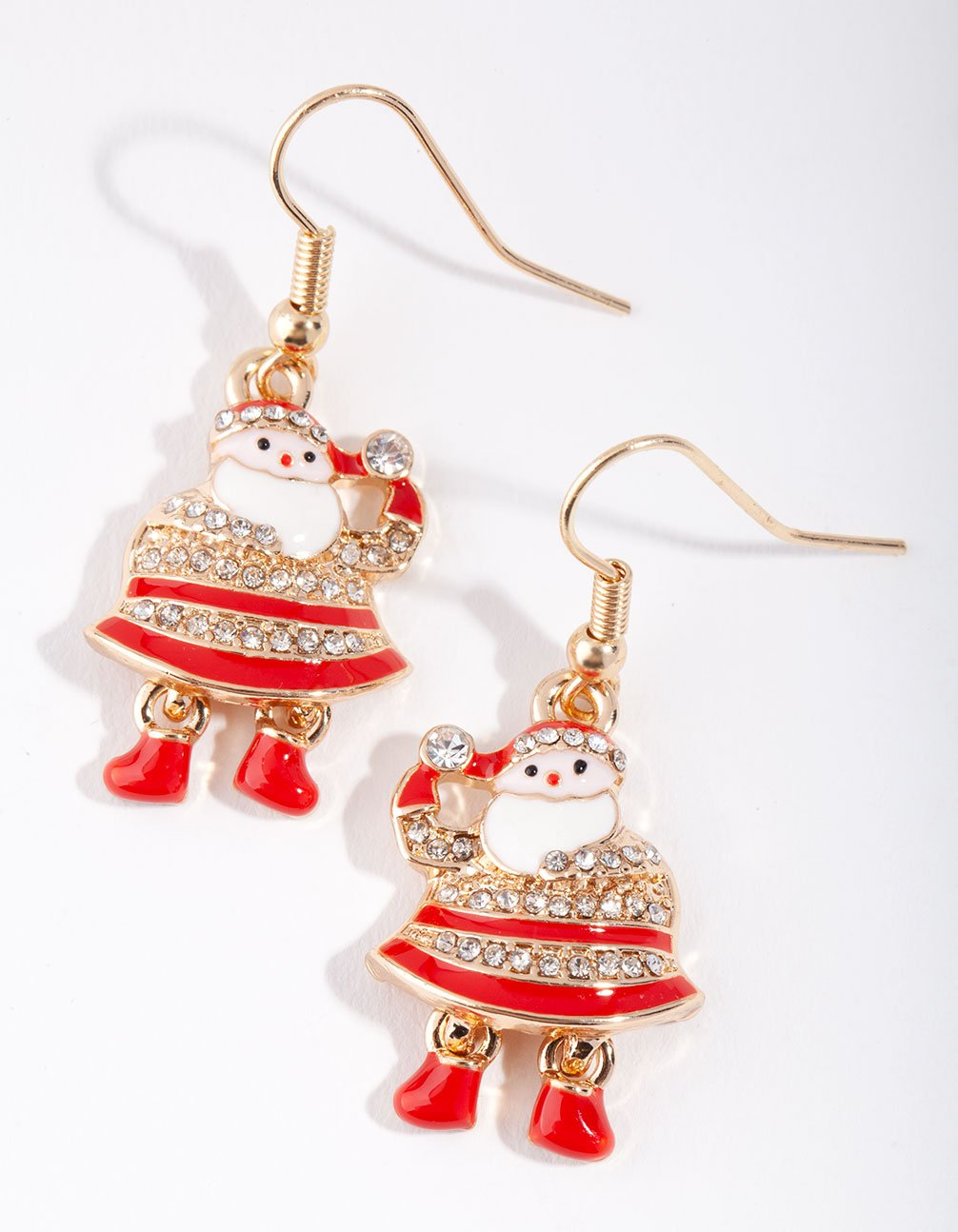 Gold Dancing Santa Earring