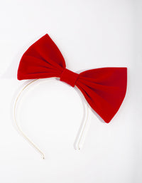 Red Large Velvet Bow Headband - link has visual effect only