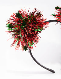 Red and Green Tinsel Pom Pom Headband - link has visual effect only