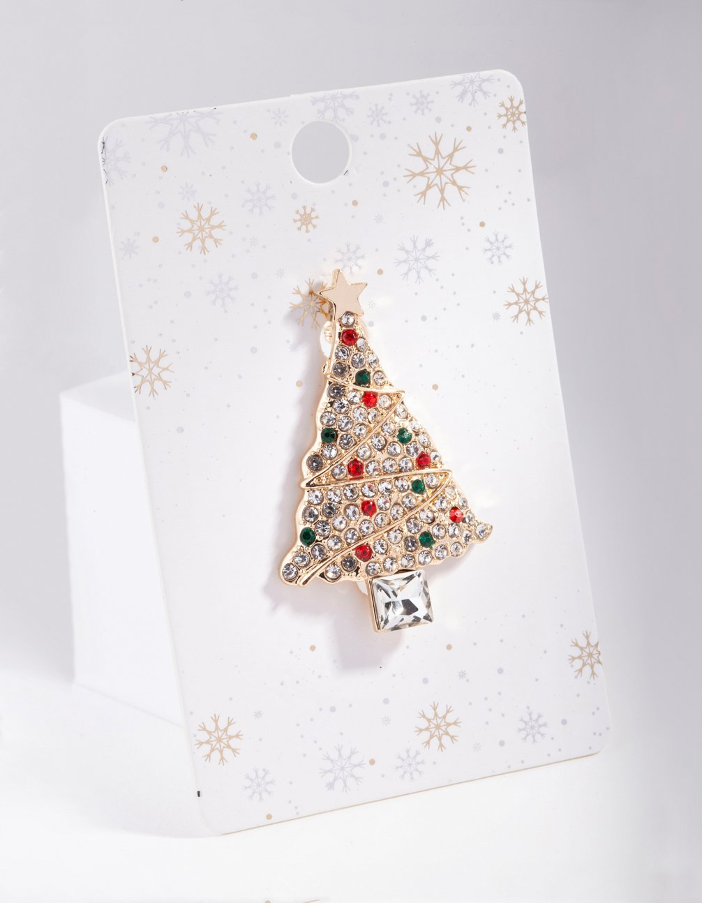 Gold Diamante Christmas Tree Brooch