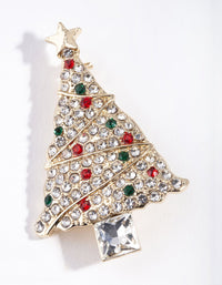 Gold Diamante Christmas Tree Brooch - link has visual effect only