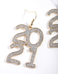 Gold Silver Glitter 2021 Drop Earring - link has visual effect only
