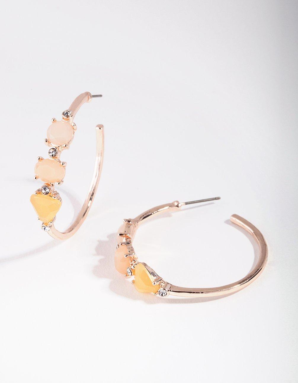 Rose Gold Small Stone Hoop Earring