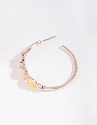 Rose Gold Small Stone Hoop Earring - link has visual effect only