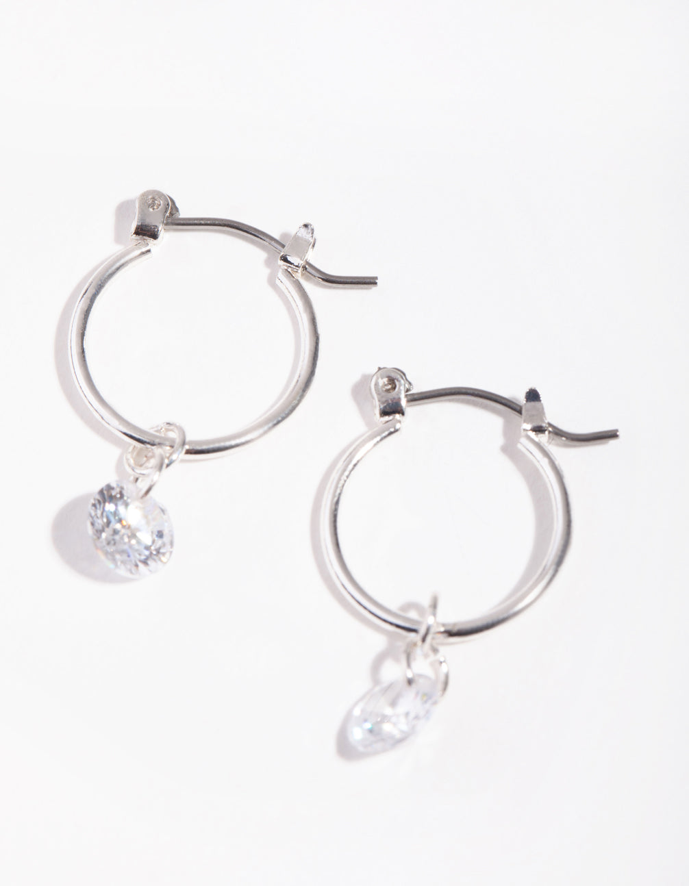 Silver Floating Diamante Huggie Earrings