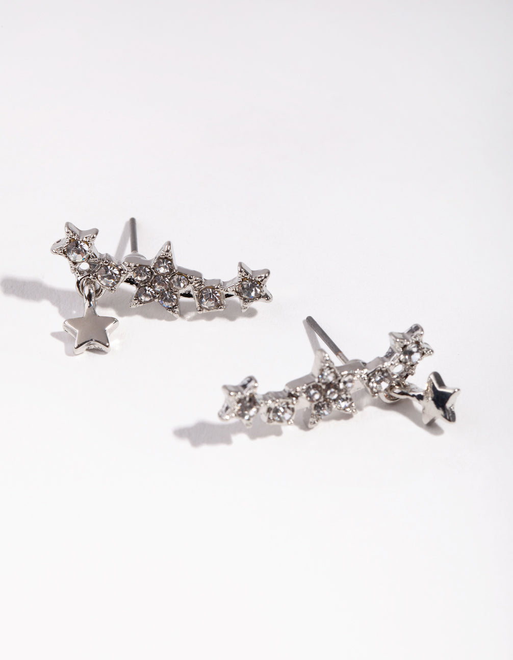 Rhodium Shooting Star Ear Cuff Earrings