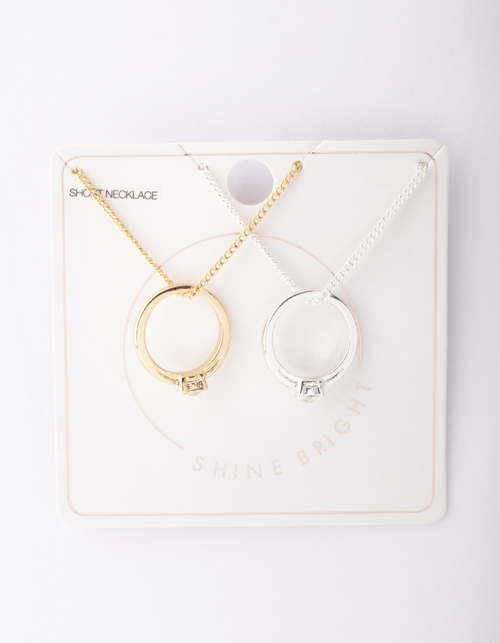 Mixed Metal Circle Diamante Ring Necklace 2 Pack