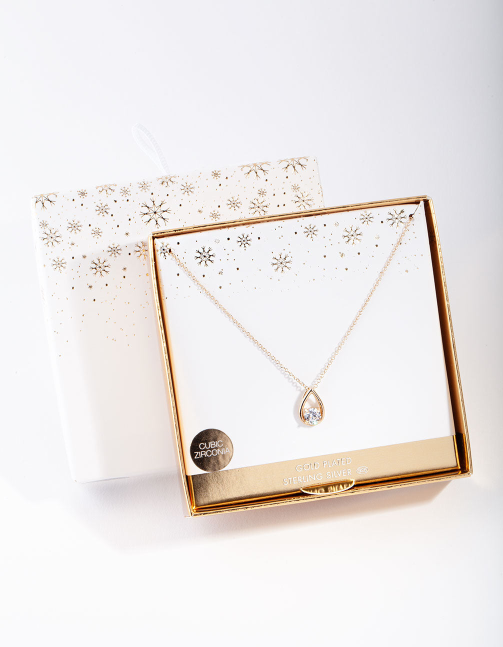 Gold Plated Sterling Silver Cubic Zirconia Sleek Teardrop Necklace