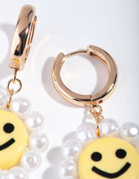Gold Smiley Pearl Drop Earring - link has visual effect only