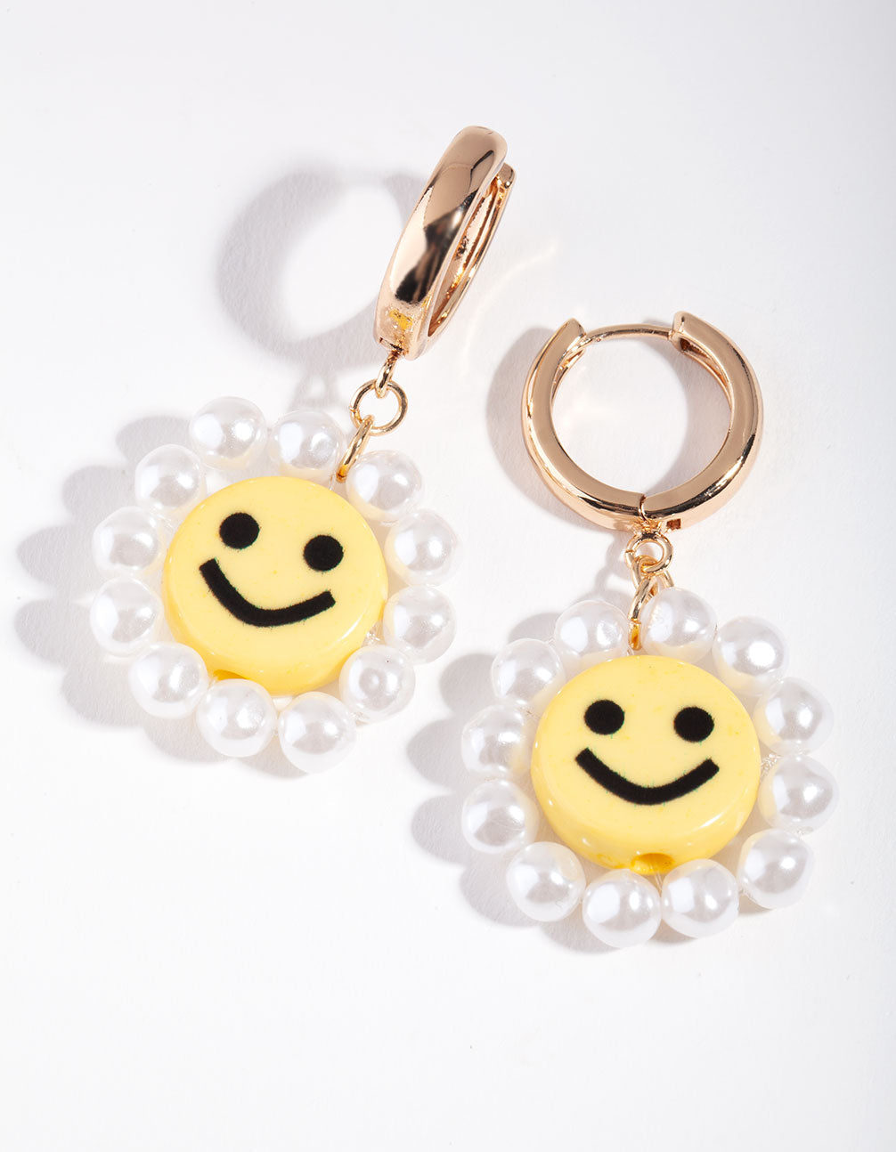 Gold Smiley Pearl Drop Earring