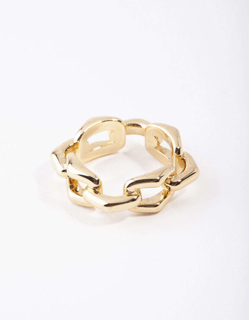 Real Gold Plated Rectangle Link Ring